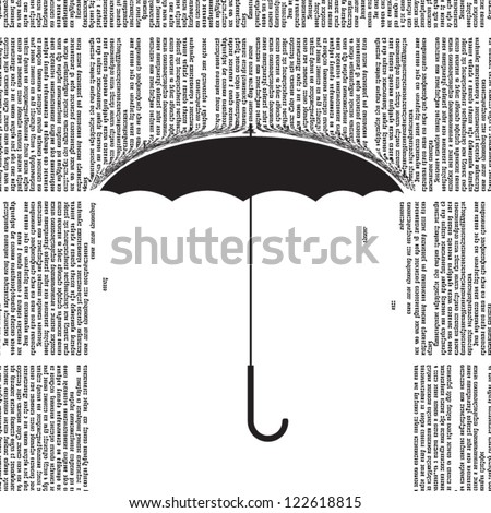 Vector umbrella silhouette with a rain of newspaper columns. All text in newspaper page unreadable. - stock vector