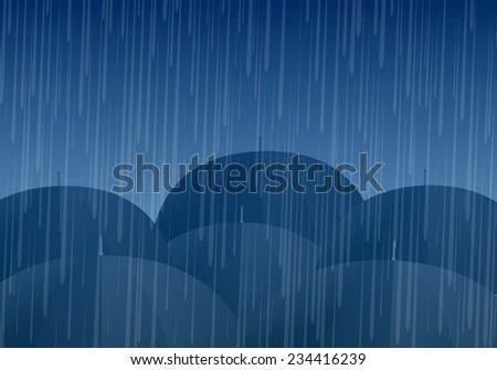 Vector umbrellas and rain drops - stock vector