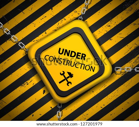 Vector Under construction sign with chains on striped background - stock vector