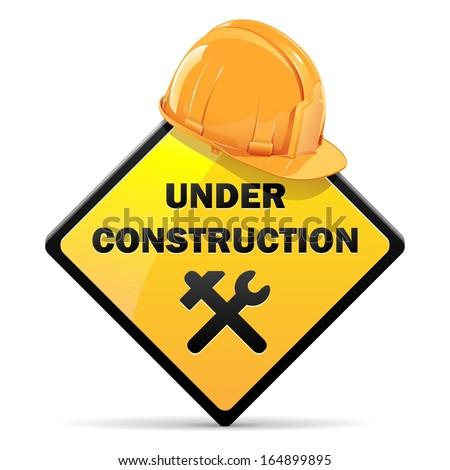 Vector Under Construction Sign with Helmet - stock vector