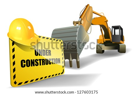 vector under construction sign with helmet and heavy machine, eps 10 vector, gradient mesh and transparency used, raster version available - stock vector