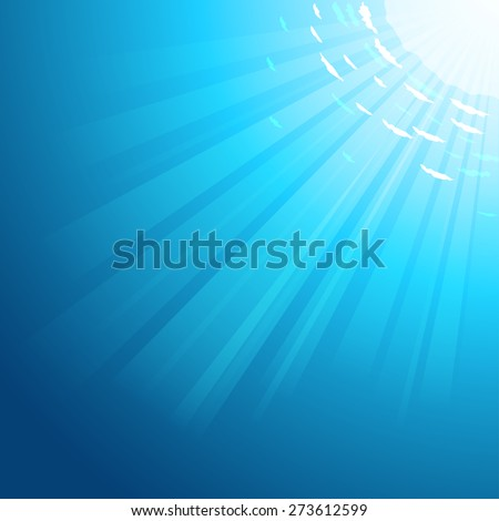 Vector Underwater deep sea background with the sun rays pass through the water - stock vector