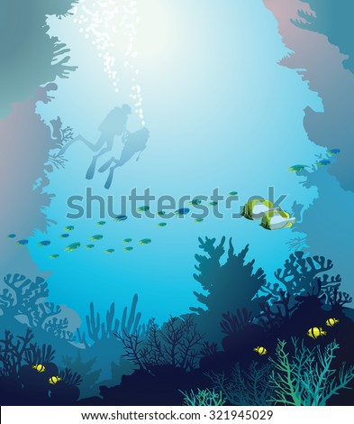 Vector underwater illustration - coral reef with school of fish and silhouette of two divers on a blue sea. - stock vector