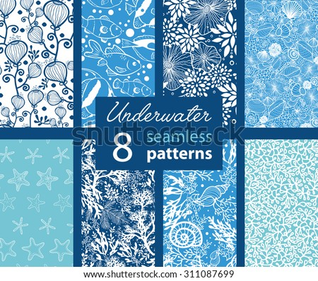 Vector Underwater Life Eight Set Seamless Pattern. California Coast See weed and Tropical Fish. - stock vector