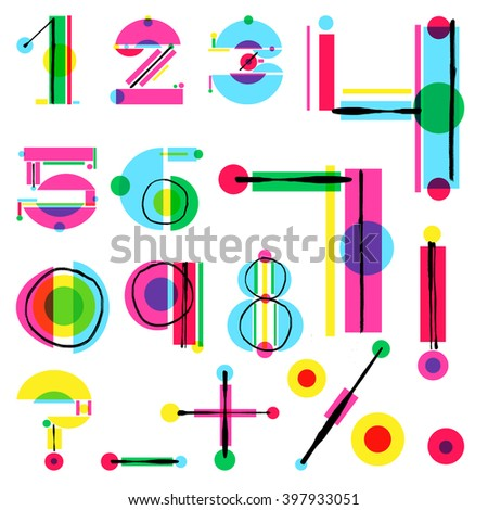 Vector unique colorful numbers made of simple geometrical shapes with hand drawn sketch elements. Beautiful vivid isolated numbers from 1 to 9 plus punctuation marks. Ready poster or artwork design. - stock vector
