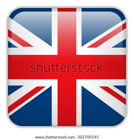 Vector - United Kingdom England Flag Smartphone Application Square Buttons - stock vector