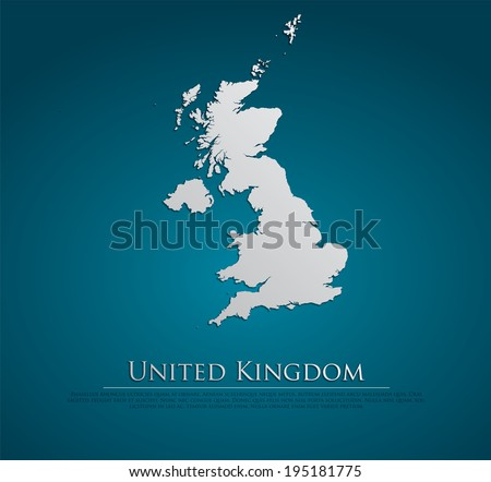 vector United Kingdom Map card paper on blue background, high detailed - stock vector