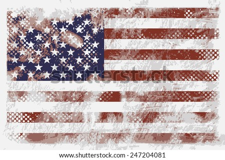 VECTOR: United state of America grunge flag on the vintage paper using for background - stock vector