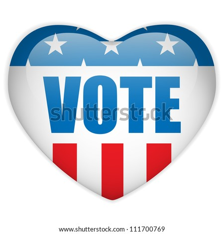 Vector - United States Election Vote Heart Button.