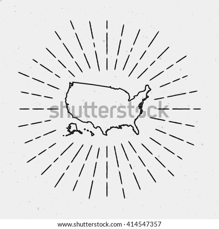 Vector United States Map Outline Retro Stock Vector - Hand drawn us map vector