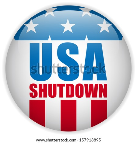Vector - United States Shutdown Government Button - stock vector