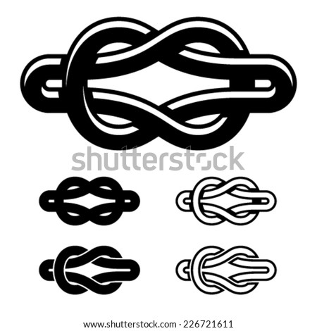 vector unity knot black white symbols - stock vector