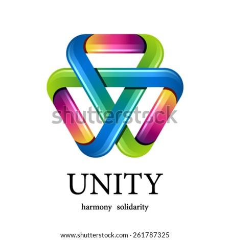 vector unity multicolor triangle icon - stock vector