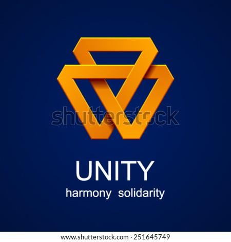 vector unity triangle orange icon - stock vector