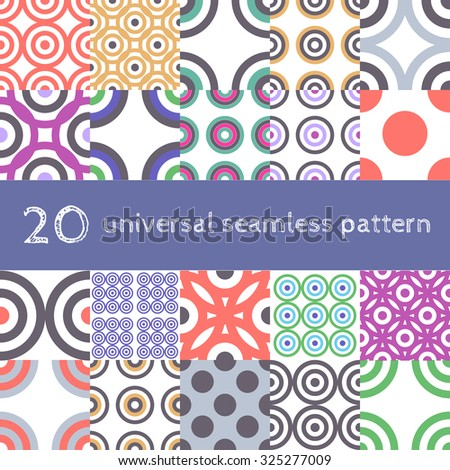 Vector universal set of different colorful geometric circle ornament seamless pattern background - stock vector
