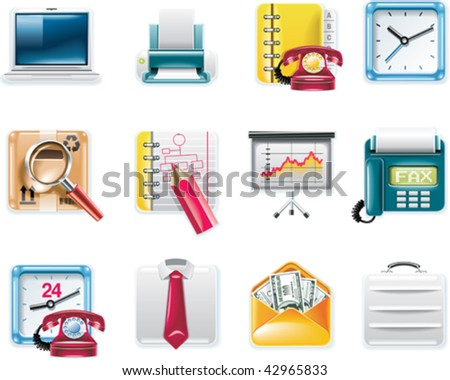 Vector universal square icons. Part 9.  Business and office (white background) - stock vector