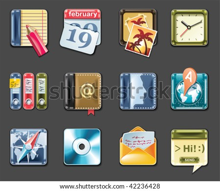 Vector universal square icons. Part 1 (gray background) - stock vector