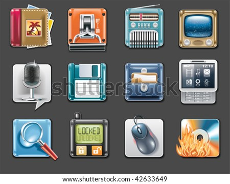 Vector universal square icons. Part 3 (gray background) - stock vector