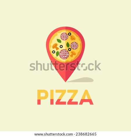 Vector unusual flat map pin pizza location with piece of pizza - stock vector