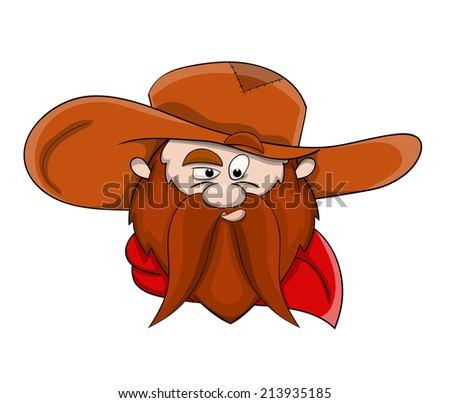 Vector unusual head of cowboy with hat and scarf - stock vector