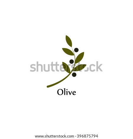 Vector Unusual Olive Branch Isolated Logo Stock Vector 396875794