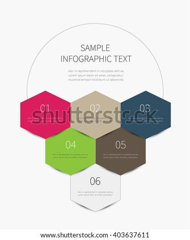 vector upward diagram with circle and steps / infographics polygon with 6 options - stock vector