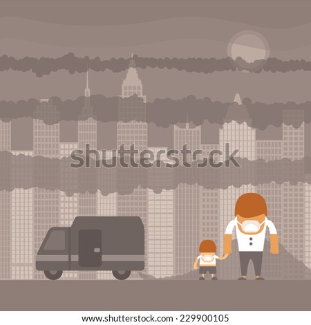 Vector urban ecology concept or background with cityscape and smoke clouds - stock vector