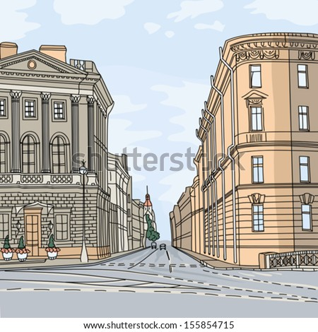 Vector Urban landscape, the wide avenue in the city center, St. Petersburg, Russia