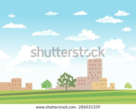 Vector urban landscape with buildings and trees on sunny day - stock vector