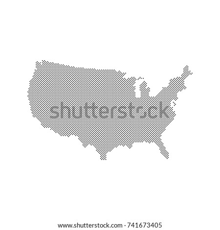 Map United States America Halftone Style Stock Vector - Us dot map