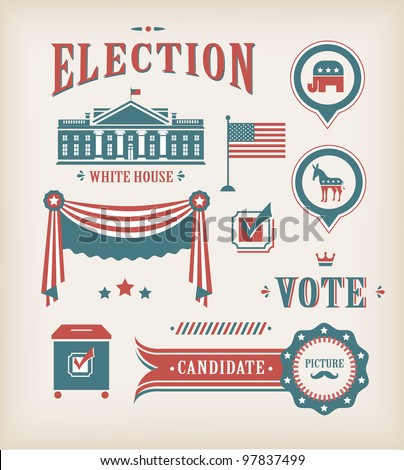 Vector USA election vintage icon set for charts and designs - stock vector