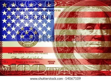 Vector USA flag & dollar - stock vector