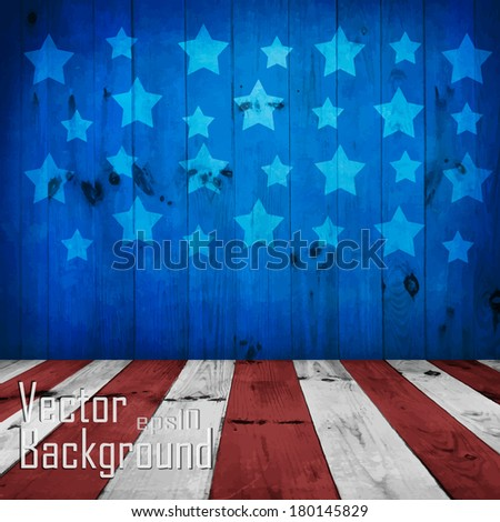 Vector - USA style background - empty wooden table for display montages - stock vector