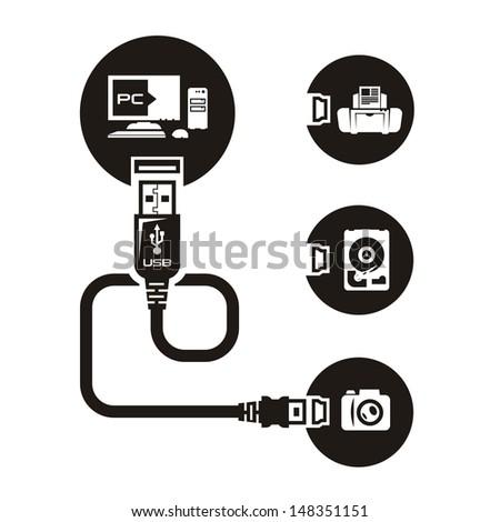 Vector USB - stock vector