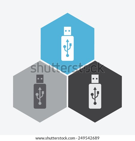 Vector usb flash drive icon. - stock vector
