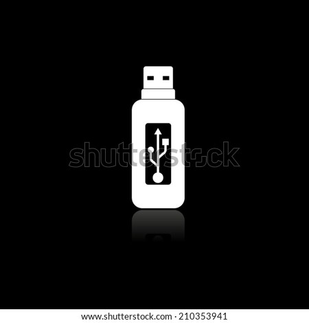 Vector usb flash drive icon with shadow - stock vector