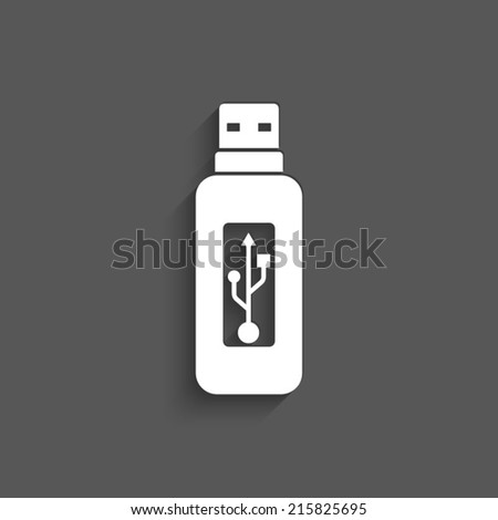 Vector usb flash drive icon with shadow on a grey background