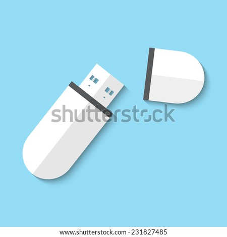 Vector usb flash drive web flat icon. Eps 10 illustration.