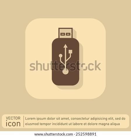 Vector usb flash icon disk - stock vector