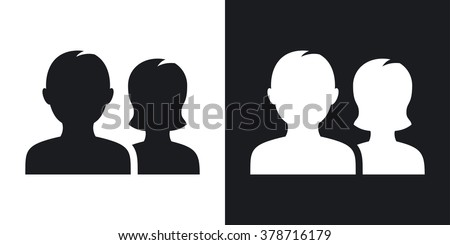 Vector user group icon. Two-tone version on black and white background - stock vector