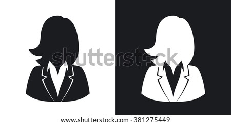 Vector user icon of woman in business suit. Two-tone version on black and white background