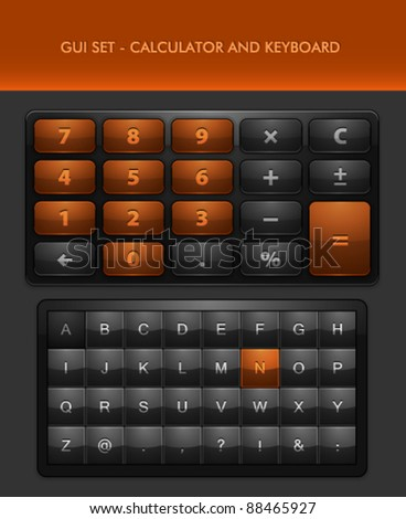 Vector User Interface Elements - Calculator and Keyboard - stock vector