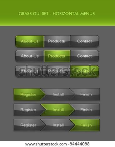 Vector User Interface Elements - Menu Bar and Breadcrumb - stock vector
