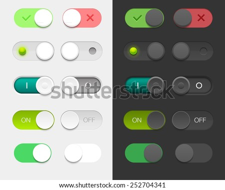 Vector User Interface Set including switches in different design variations - stock vector