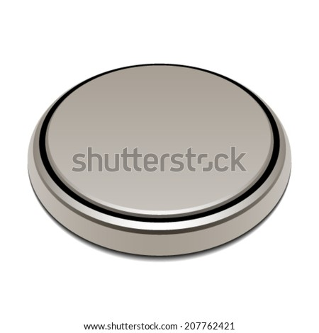 vector 3v button lithium battery - stock vector