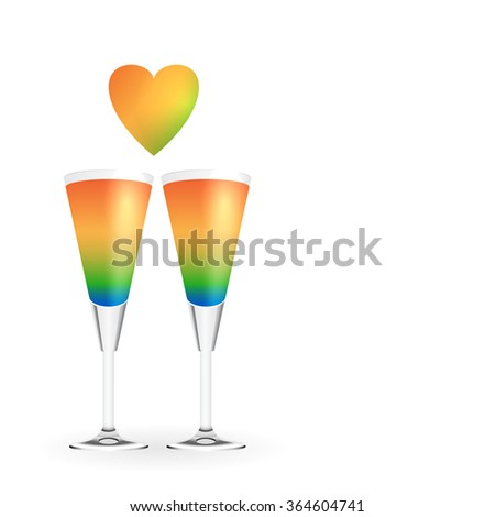 Vector Valentin's  day cocktails - stock vector