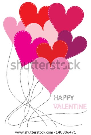 vector valentine card design with heart balloons and place for your text isolated on white background