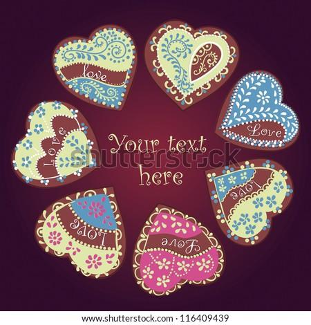 Vector Valentine Card. Gingerbread heart - stock vector