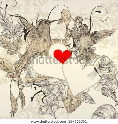 Vector valentine design  with birds, hearts  and flowers - stock vector