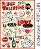 Vector valentine doodles set - stock vector